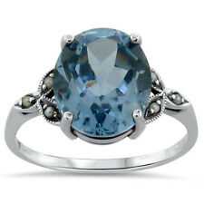 5.5 CT SIM. AQUAMARINE SEED PEARL ANTIQUE STYLE 925 SILVER RING Sz 5.75,   #198