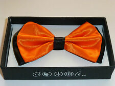 New Tuxedo PreTied Neon Orange with Black Trim Bow Tie Satin Adjustable Bowtie