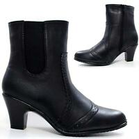 Ladies Chelsea Boots New Womens Ankle Heels Smart Brogue Work Office Shoes Size