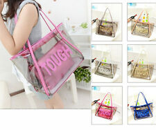 Women Clear Transparent Handbag Tote Fashion Jelly Candy Beach Bags Rose Red