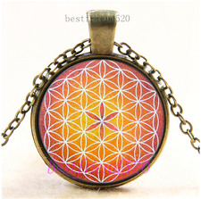Vintage Flower of life Photo Cabochon Glass Bronze Chain Pendant Necklace#CG79