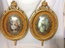 Beautiful Vintage Pair Oval Framed Matted Romantic Cameo's; c 1950