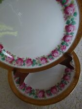 "FOLEY CHINA England FOL22  Set 4 - ENCRUSTED GOLD Pink Roses 9 7/8"" LUNCH PLATES"
