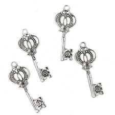 10x Newest Antique Silver Key Shape Alloy Charms Crafts Pendants Findings DIY L