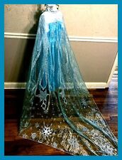 Frozen Inspired Elsa Snowflake Print Organza Cape Play Costume Panel Fabric