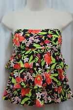 Island Escape Tankini Top Sz 10 Red Black Floral Tiered Bandini Halter P760655