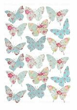 18 icing cupcake cake toppers decorations edible Floral butterflies images ND1
