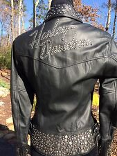 RARE Harley Davidson Roxy Bling Studded Leather Jacket Women's XS Black
