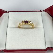 (329$)Pre Owned 18k Solid Yellow 5.83GM/Gold Pearl And Ruby Band Ring Size 5