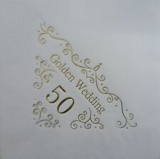15 X SHIMMERING GOLD 50TH WEDDING ANNIVERSARY QUALITY WHITE 3PLY DINNER NAPKINS