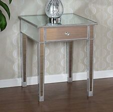 End Table Mirrored  Mirror Glass Silver-Painted Wood Accent  Drawer Nightstand