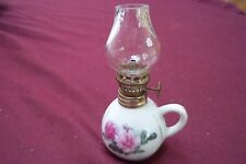 Vintage Enesco Miniature Oil Lamp Hand Painted White with Pink Flowers Japan