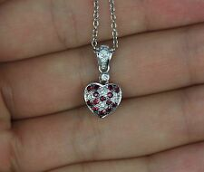 $1,575 Levian 14K White Gold Red Ruby Round Diamond Heart Pendant Chain Necklace