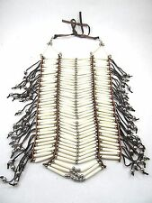 White Bone BreastPlate Pow Wow Choker 40 Row Bone & Leather Regalia Jewelry