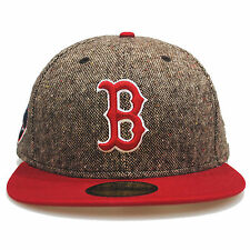 New Era 59fifty Boston Redsox Tweed Crest Brown Red 5950 Fitted Hat Cap 7 1/8