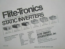 9/1977 PUB FLITE-TRONICS STATIC INVERTER MILITARY COMMERCIAL AIRCRAFT AVION AD