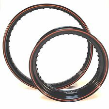 21 / 16 40 spoke rim set Black / HD Orange pinstripe Harley, Bobber, Wheel
