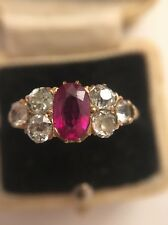 Antique victorian or jaune rubis et diamant superbe inhabituel 7 stone ring