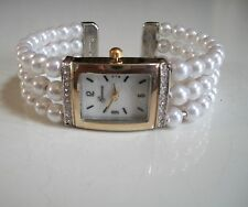 DESIGNER SILVER & GOLD FINISH ELEGANT PEARL FASHION WATCH BANGLE