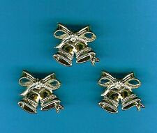 10 GOLD DOUBLE BELLS - WEDDING / ANNIVERSARY CAKE DECORATIONS / CARD MAKING