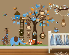 Monkey Animal Owl Wall Stickers Jungle Zoo Tree Nursery Baby Bedroom Decals Art