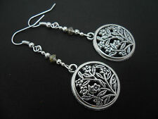 A PAIR OF  TIBETAN SILVER CIRCLE TREE FLOWER DANGLY  EARRINGS. NEW.
