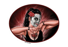 SEXY LATINO Pinup LADY OF DEATH Mexican SUGAR SKULL Sticker/Decal -Pete Tapang