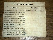 Antique Handwritten Family Record - Rauch - Records from 1773 - 1834