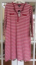 Women's CHAPS Shirt Dress XLARGE Red & White Stripped 3/4 Sleeves NWT $69 Retail
