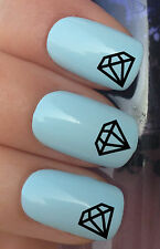 NAIL ART SET #303. x24 DIAMOND STONES BLING WATER TRANSFERS/DECAL/STICKERS
