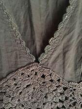 Zara basics linen top brown V neck Crochet empire cut M