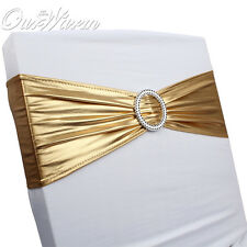 100 x Stretch Wedding Chair Cover Sashes Bow Baby Shower Chair Band Home Decor