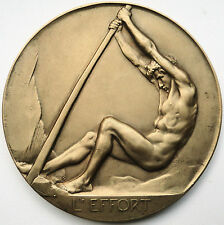 LARGE FRENCH BRONZE MEDAL SPORT NUDE MAN 1945-1946 IN BOX JOSUE DUPON