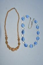 2 Vintage Glass Bead necklaces, 1950's Brown glass and Vtg Clear & Blue crystal