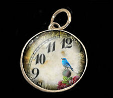 """Blue Bird in Clock 1/2"""" Typewriter Key Size Necklace Silver Pewter Charm Pendant"""