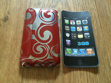 PLASTIC BACK CASE COVER FOR APPLE iPHONE 3 3GS - RED & SILVER SWIRLS DESIGN