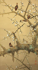"""JAPANESE HANGING SCROLL """"Sparrows and Ume Blossoms""""  @u171"""