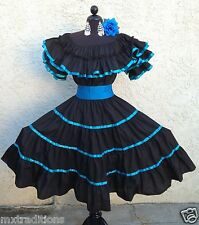 MEXICAN DRESS FIESTA,5 DE MAYO,WEDDING TURQUOIS/BLACK OFFSHOULDER W/SASH 2PIECE