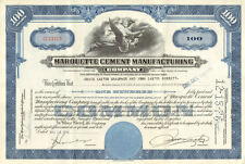 Marquette Cement Manufacturing Company   1958 Chicago Illinois stock certificate
