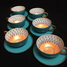 6 Vintage Steinbock Email Made in Austria Enamel Cup and Saucer Set - Teal Peach
