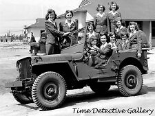 Group of Air Force Women in Jeep, Tyndall Field, FL -WWII- Historic Photo Print
