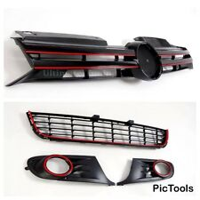 VW Golf Mk6 4 Piece Grill Set With Red Outline Gti/gtd/r20 UK Seller Cheapest