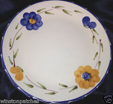 "FURIO HOME LA SPEZIA SALAD PLATE 8 3/8"" BLUE YELLOW/ORANGE FLOWERS MADE IN ITALY"