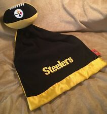 NFL PITTSBURGH STEELERS Baby Plush Lovey Football Security Blanket EUC