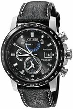 Citizen Eco-Drive Men's AT9071-07E Atomic World Time Black Leather Strap Watch