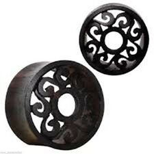 "PAIR-Wood Sono Tribal Motif Cut Double Flare Tunnels 14mm/9/16"" Gauge Body Jewel"