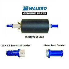 GENUINE WALBRO GSL392 HIGH FLOW EXTERNAL FUEL PUMP + 12mm INLET + BANJO STUB