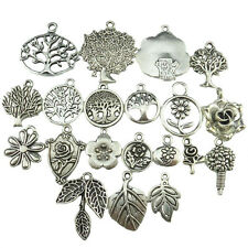 20x Alloy Vintage Silver Plants Leaf Flower Leaf Tree of Life Pendant Tree Charm