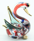 Figurine Animal Hand Blown Glass Swan Bird No Painted w/ Painted Gold Trim 007