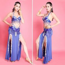 Professional Belly Dance Costume Set 2 Pics Bra Top Hip Scarf Belt Carnival
